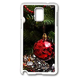 iCustomonline Christmas Tree Hard Case Cover for Samsung Galaxy Note 4 PC Material White