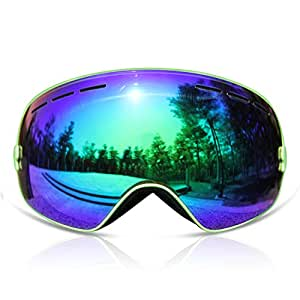 GANZTON Skiing Goggles Snowboard Goggles Double Lens Anti-UV Anti-Fog Skating Goggles for Women and Men, Boys and Girls Green