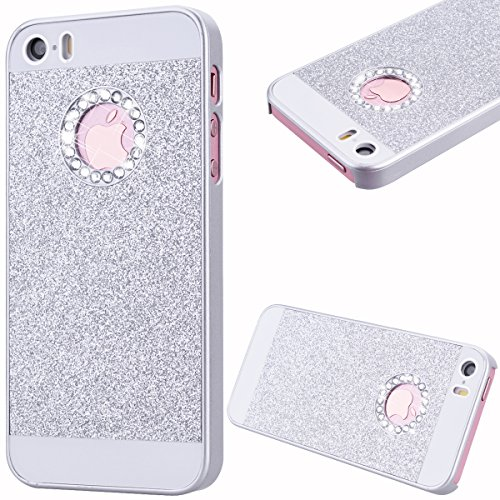 GrandEver Custodia Rigida per iPhone 5 iPhone 5S iPhone SE, UltraSlim Dura PC Protettiva Cover Bumper, Glitter Bling Hard Protettivo Durable Case con Diamanti Back Case Copertura - Argento