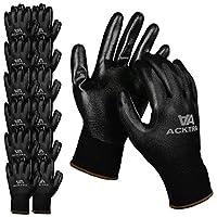 ACKTRA Nitrile Coated Nylon WORK GLOVES 12 Pairs/1 Dozen, Knit Wrist Cuff, Multipurpose, for Men & Women, Red Grey Yellow, Small Medium Large, WG003