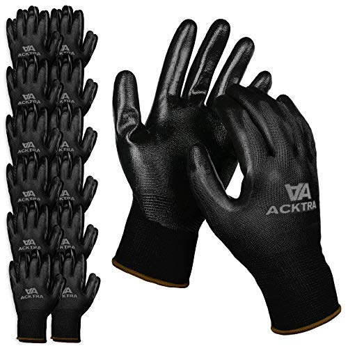 ACKTRA Nitrile Coated Nylon Safety WORK GLOVES 12 Pairs, Knit Wrist Cuff, Multipurpose, for Men & Women, WG003 Black Polyester, Black Nitrile, Large