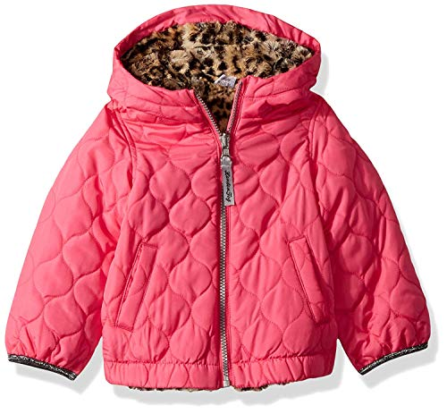 (London Fog Girls' Big Reversible Quilted Midweight Jacket, Fuchsia Cheetah, 10/12)