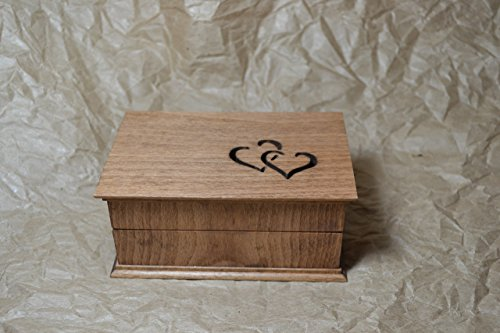 Custom engraved jewelry box with intertwined hearts carved on top, great anniversary gift, - Carved Custom Jewelry