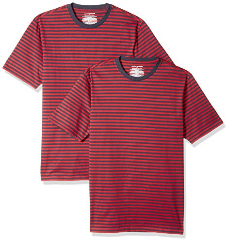 Amazon Essentials Men's Slim-Fit Short-Sleeve Stripe Crewneck T-Shirts, Red/Navy, Medium ()