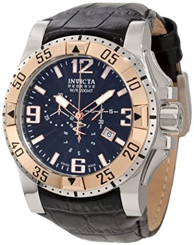 Invicta Men's 10899 Reserve Excursion Chronograph Stainless Steel Case Leather (Invicta Reserve Excursion Gold)