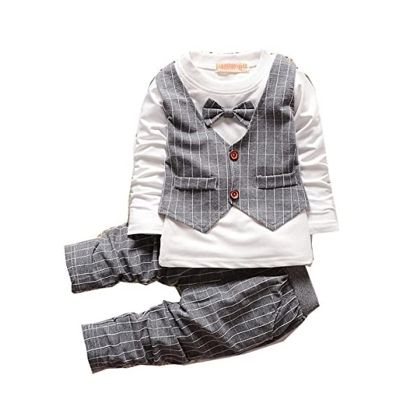 1-3 Years Old Fashion Plaid Baby Boy Clothes Sets New Toddler Kids Gentleman Suit Grey80(6-12months)