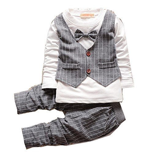 1-3 Years Old Fashion Plaid Baby Boy Clothes Sets New Toddler Kids Gentleman Suit Grey,80(6-12months)