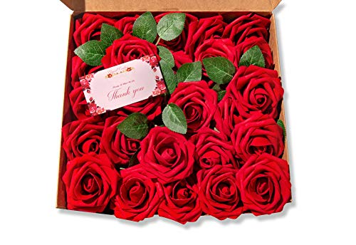 Elegant Creators 25pcs Ivory Artificial Roses Flowers- Real Looking Fake Foam Roses Bulk with Steam for DIY Wedding Bouquets Centerpieces, Baby Shower Party, Home Cake Flower Decorations (Dark Red)