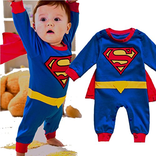 VogueFashion Baby Superhero Jumpsuit with Removable Cape and Shoes (0-6 Months, Superman1)