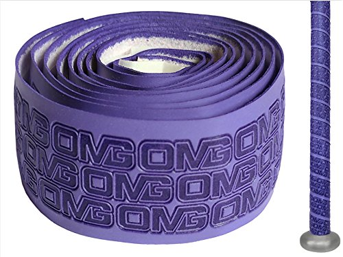 Oh My Grips OMG Premium Cushioned Hand Grip Wrap, Great for All Bats and Racquets; Baseball, Softball, Tennis, Badminton, Cricket, Even Ping-Pong Paddles! (Purple)