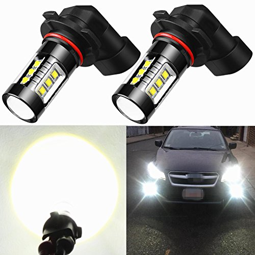 H3 Super White Bulb (Alla Lighting Extremely Super Bright High Power 80W CREE H10 9145 White LED Lights Bulbs for Fog Light Lamps Replacement)