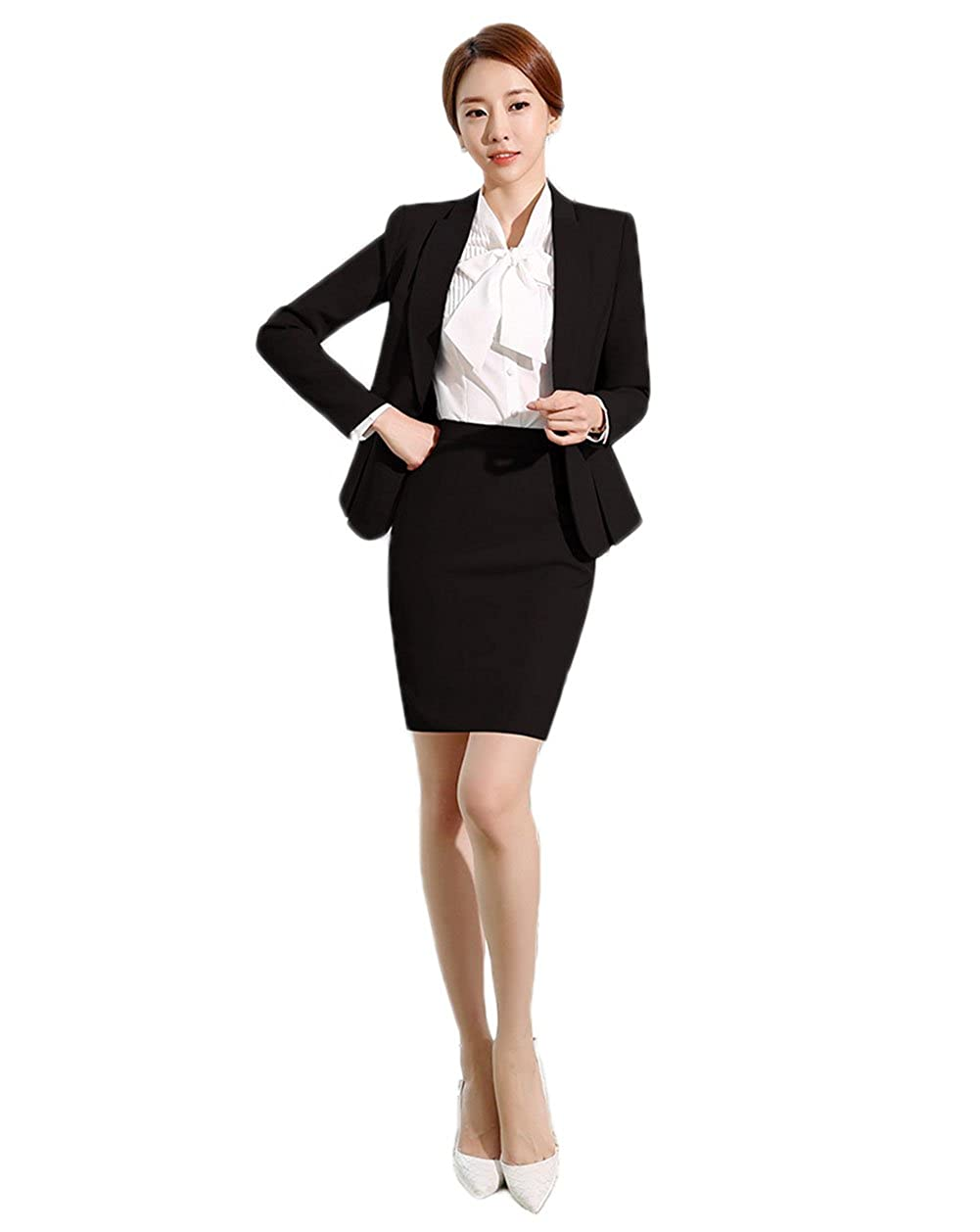 SK Studio Donna Tailleur Gonna Blazer Con Gonna Manica Lunga