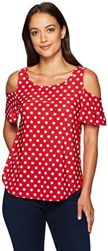 Star Vixen Women's Petite Cutout Shoulder Short Sleeve Top
