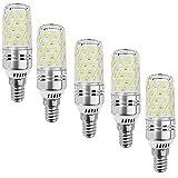 MATMO 12W E14 LED Bulbs (5 Pack), E14 Base Candelabra LED Light Bulb, LED Corn Bulb, 100 Watt Light Bulb Equivalent, AC 85-265V 1100LM LED Lights LED Chandelier Bulb (Cold White, Stripe Surface)