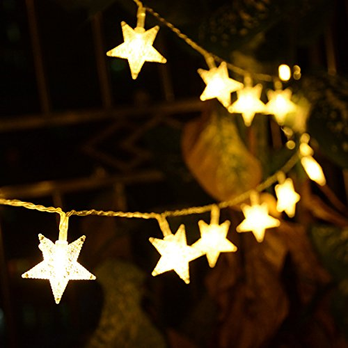Homeleo 50 LED Warm White LED Twinkle Star Fairy Lights w/Remote Control, Battery Powered Five-Pointed Star String Lights by Homeleo (Image #3)