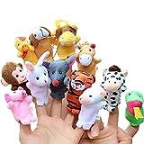 Happy Cherry 12Pcs Chinese Zodiac Finger Plush Puppet Animals Toy Models Set for Kids Preschool Kindergarten Education