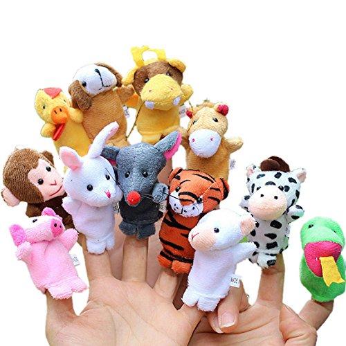 Happy Cherry 12Pcs Chinese Zodiac Finger Plush Puppet Animals Toy Models Set for Kids Preschool Kindergarten Education by JINPIN