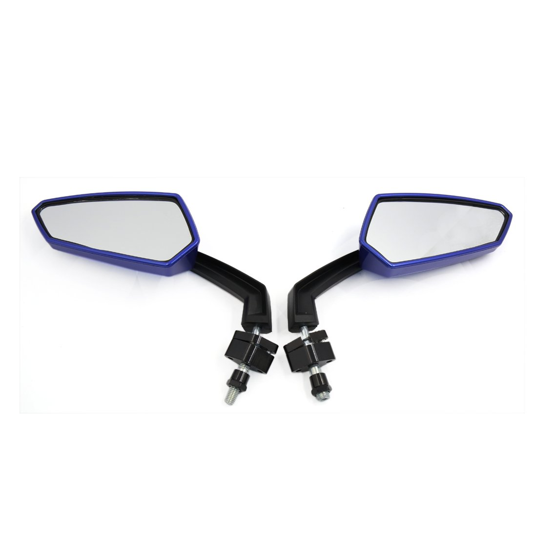 Sourcingmap Moto 10mm 8mm Negro Azul Pol/ígono Espejo Retrovisor /Ángulo Ajustable