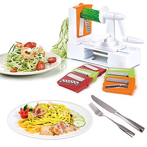 Spiralizer Vegetable Slicer 7-Blades, Strongest-and-Heaviest Duty Vegetable Spiral Slicer, Best Veggie Salad Pasta Spaghetti Maker for Keto/Paleo/Gluten-Free with Extra Blade Container by EAKON (Image #1)