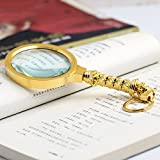 ANHPI 10X Portable Magnifier For Seniors Reading HD Glass Lenses Magnifying,Gold-7215018MM