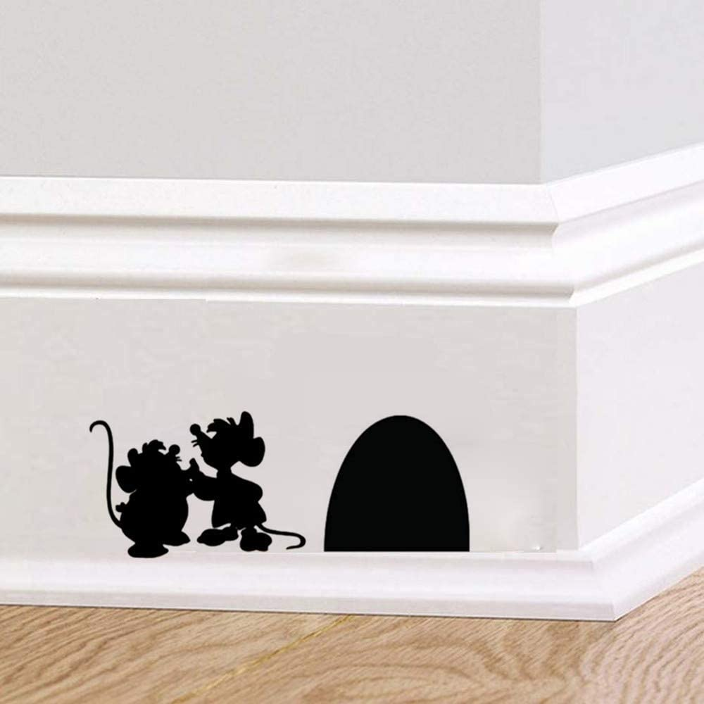 Ewdsqs Mouse Hole Decals - Jaq and Gus Mice Cartoon Cute Mouse Holes Wall Stickers (Set of 2, 4