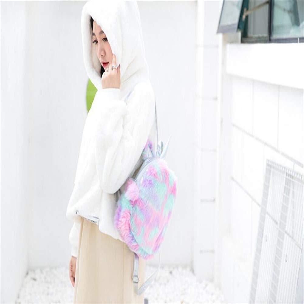 Fanovo Cute Plush Unicorn Backpack, Mini Unicorn Backpack, 3D Unicorn Backpack, Soft Rainbow Backbag Sweet Girls Daughter Gifts 12 inch Bag (Style 1)