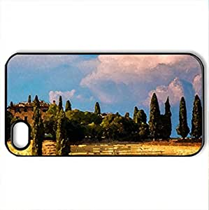 lintao diy beautiful farm on a hill in tuscany - Case Cover for iPhone 4 and 4s (Farms Series, Watercolor style, Black)