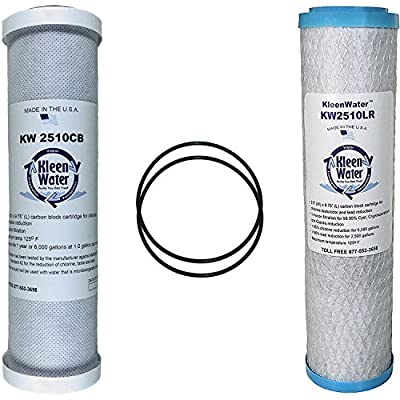 GE FXSVC Compatible Filters, Two Replacement Carbon Filter Cartridges, For GE Model GXSV10C, GXSL03C and GNSL05CBL SmartWater Dual Stage Water Filtration Systems, Two O-rings, 4 Item Multi-Pack