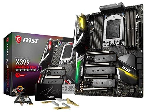 MSI Gaming AMD Ryzen ThreadRipper DDR4 VR Ready HDMI USB 3 SLI CFX Extended-ATX Motherboard (X399 Gaming PRO Carbon AC) (Renewed)