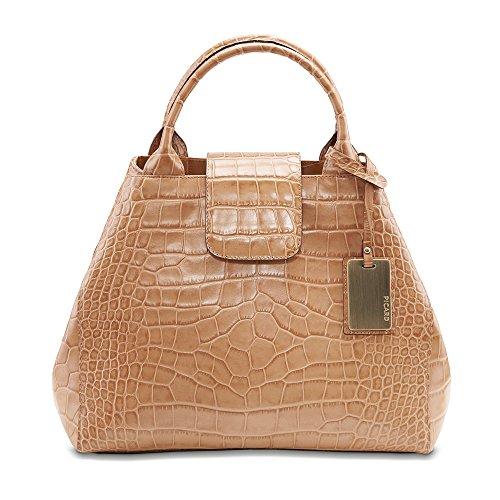 PICARD Shopper Weimar Leinen Damen-Handtasche Kalbsleder Metallfüßchen verstellbarer Trageriemen