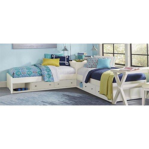 NE Kids Pulse Twin L Shaped Storage Bed in White
