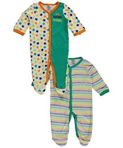 Baby Gear Baby-Boys 2 Pack Onesie Footie Sleeper Set Green Mr. Handsome 6-9 M