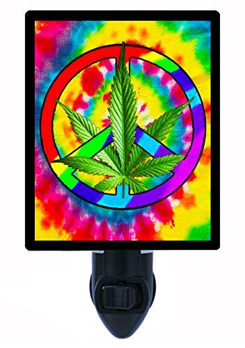 (Night Light - Peace Pot - Peace Sign - Marijuana - Cannabis LED Night)