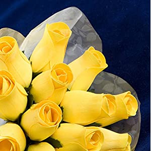 """Baker's Dozen"" Bouquet of 13 Yellow Wood Roses 1"