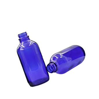 Xelparuc® 2 botellas de cristal azul vacío con diseño de carteles rellenables es ideal para