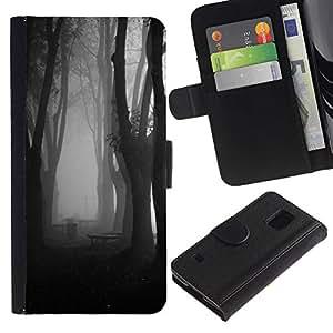 Niebla Bosque Oscuro Negro Blanco- la tarjeta de Crédito Slots PU Funda de cuero Monedero caso cubierta de piel Para Samsung Galaxy S5 V SM-G900