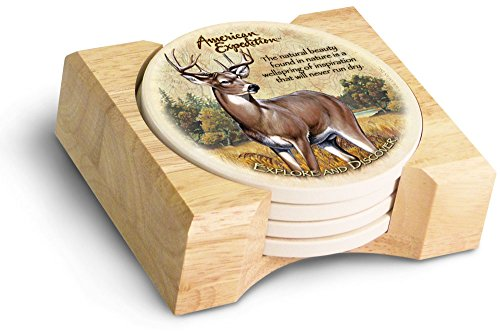 (American Expedition Set of 4 Stone Coasters (Whitetail Deer))