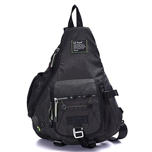 Nicgid Large Sling Shoulder Backpack Chest Crossbody Bag Student Laptop Bookbag Daypack School Handbag for Bicycle Walking Sports Travel Men Women (Black-1)