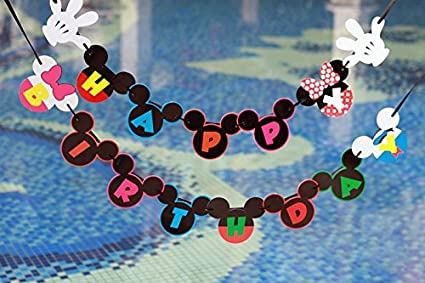 Mickey Mouse Birthday Banner Decorations Happy