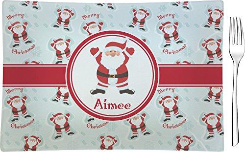 Santa Claus Glass Rectangular Appetizer/Dessert Plate (Personalized)