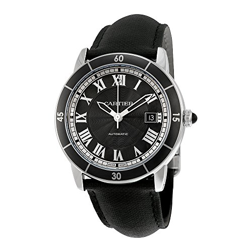 Cartier Ronde Croisiere Automatic Gray Dial Black Leather Mens Watch WSRN0003