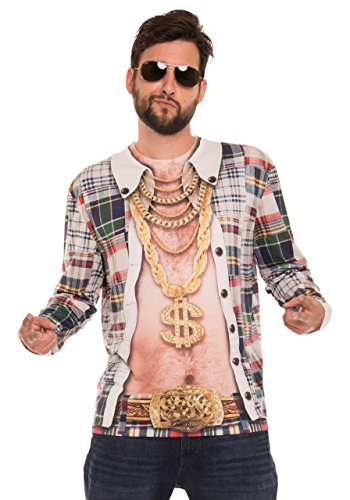 Biker Chick Fancy Dress (Faux Real Men's Wild & Crazy Dude Printed Long Sleeve T-Shirt, Multi,)