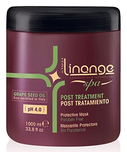 Linange Spa - Post Treatment Grape Seed Oil Mask (1000ml); Strengthening, Hydrating Hair Care Product; Hair Mask w/ Proteins for Men and Women – for Thin, Dry, Damaged, Treated Hair