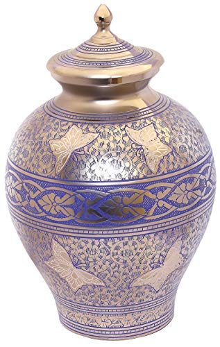 Adult Cremation Urn for Ashes Large Size Funeral Memorial Brass Urn Blue Pitcher Butterfly