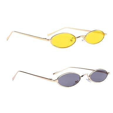 Sharplace 2x Lunettes de Soleil Rétro Vintage Ovale Cadre Classique Yeux  Protège a9447472bc22