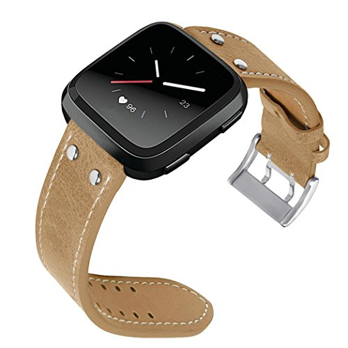 (Outsta for Fitbit Versa Watch Band, New Luxury Leather Band Bracelet WatchBands Accessories Smart Watch Band Women Men Multicolor (Khaki))