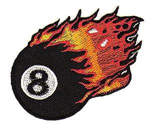 8 Ball Billiard Kugel Flammen Aufnäher Bügelbild