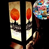 Product review for Buddhist Pagoda Riverside Sunrise Orange Paper Handmade Asian Oriental Wood Light Night Lamp Shade Table Desk Art Gift Home Vintage Bedroom Bedside Garden Living Room; Free Adapter; a Us 2 Pin Plug #474