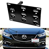 iJDMTOY No Drill Front Bumper Tow Hole Adapter License Plate Mounting Bracket For 2014-up Mazda3 Mazda6, 2013-up Mazda CX-5