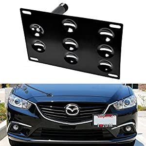 iJDMTOY JDM Style Front Bumper Tow Hole Adapter License Plate Mounting Bracket For 2014-up Mazda3 Mazda6, 2013-up Mazda CX-5, 2016-up Mazda MX-5